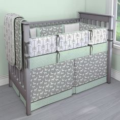 Gray Deer with Mint Triangles Nursery Idea | Customizable Crib Bedding Set | Carousel Designs