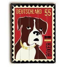 Boxer Postage Stamp by Artist Ginger Oliphant Wood Sign