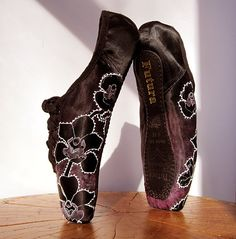 Black Orchid Pointe Shoes Fuchsia and Black White by KiteFlyerArt, $90.00
