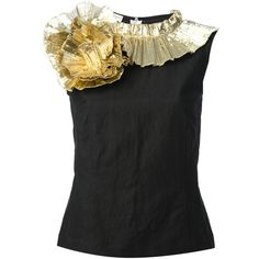 Dries Van Noten Gold Ruffle Swirl Cotton Top ($400) ❤ liked on Polyvore featuring tops, shirts, gold black, cotton shirts, flounce tops, gold sequin shirt, black sleeveless shirt and gold sequin top