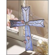 Maybe add 3 more hearts for her grandchildren? Stained Glass Blue Heart Cross