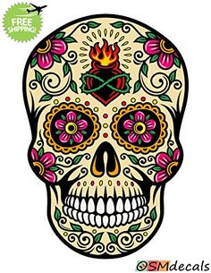 OSMdecals - Sugar Skull Sticker Decal Version 82 - Day of...