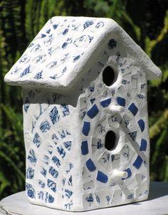 Vintage Blue And White English Transferware 2-hole Mosaic Birdhouse - Decorative…