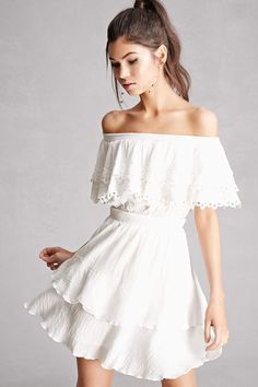 a8a2058805e68 Off-the-Shoulder Flounce Dress Little White Dresses