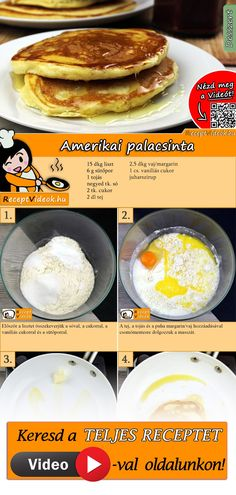 Amerikai palacsinta Dessert Drinks, Dessert Recipes, Tasty Videos, Good Food, Yummy Food, Hungarian Recipes, Diy Food, Food Hacks, Food To Make