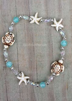 Ankle bracelet with milky magnesite turtles and starfish combine with frosted seafoam blue Mashan jade, glass and silver plated beads. Ocean Jewelry, Beach Jewelry, Sea Glass Jewelry, Cute Jewelry, Body Jewelry, Jewelry Accessories, Jewelry Design, Beaded Anklets, Anklet Jewelry