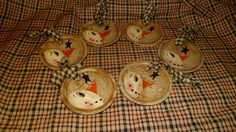 PRIMITIVE NO WOOD SNOWMAN HANG TAG ORNAMENT CRACKLE STAR COUNTRY CHRISTMAS DECOR in Antiques   eBay