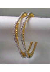 Precious Golden Color Metal with White Stone Studded Bangles