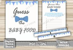 Bow Tie Guess The Baby Food Printable - Baby Shower Guess The Baby Food Game Bow Tie Chevron Blue with Banners - Instant Download - bt1 by DigitalitemsShop on Etsy