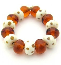 EDJ - 15 Amber Pretties  Handmade Glass Lampwork Beads SRA