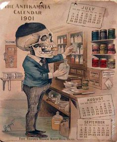 """It Looks Easy """"Barnacle"""" [Sep/ Oct: The Antikamnia Calender, 1900 Louis Crusius was a pharmacist and surgeon as well as an artist. He created these humorous drawings for promotional calendars distributed by Antikamnia, a pharmaceutical company headquartered in St. Louis, Missouri. Among the medicines Antikamnia manufactured were painkillers that contained opium and cocaine.*"""