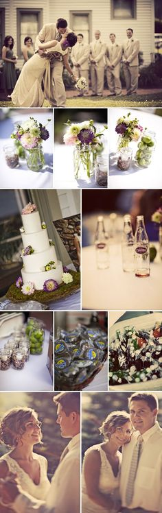Very cute dark plum and green wedding