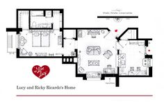 "Lucy and Ricky Ricardo's Home from ""I LOVE LUCY"" (Based in the set of the first season).   This is a hand drawed plan, in scale, coloured with colour pens and with full details of furniture and complements...   The design is made according with the ""real"" apartment respecting the spaces, proportions, furniture and objets presents in the studio set.  You can buy an original artworks here: http://www.etsy.com/shop/FLOORPLANSTV or writting me to: ializar@hotmail.com"