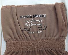 1 pair of Bend-Easy stockings in the original packet Made in England by Kayser Bondor in the 1950s Style 33 30 denier 51 Gauge Fully fashioned The
