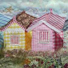 Sewing Appliques, Applique Patterns, Applique Designs, House Quilts, Fabric Houses, Freehand Machine Embroidery, Fabric Cards, Beach Huts, Landscape Quilts