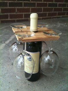 Party of Four hardwood rack for wine bottle and four glasses. Salvaged wood or DIY Glass Holders, Bottle Holders, Bottle Rack, Beer Bottle, Wine Bottle Glass Holder, Wine Bottle Display, Cork Holder, Diy Bottle, Vodka Bottle