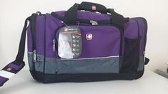 Nwt Swiss Army Wenger Gear Purple Gray Sport Gym Travel Carry Duffel Bag Luggage