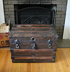 1890's Steamer Trunk  Coffee Table  Stage Coach by RustyNailDesign, $199.00