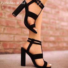 Parkside Wind Summer Women's sandals Square Heel 10cm Navy Female High Heels Women's Shoes Woman Sandals Ankle Strap Heels-49(China)