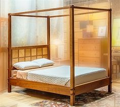 Windowpane High Post Bed, Queen Natural Maple and Birdseye Maple Maple Furniture, Birdseye Maple, Transitional Bedroom, Queen Beds, Cherry, Bedroom Decor, Artsy, Home Decor, Colors