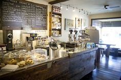 Find a lonely corner in your home. Gather a table, coffee maker, chalkboard, wine crates. Coffeehouse Coffee Bar at Home! My Coffee Shop, Coffee Shop Design, Coffee Cafe, Coffee Shops, Bakery Cafe, Cafe Restaurant, Restaurant Design, Restaurant Ideas, Burger Bar
