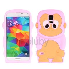 Lovely 3D Monkey Cartoon Pattern Design Soft Silicone Case for Samsung Galaxy S5 I9600 G900(Pink)