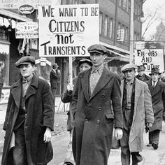 Great Depression in Canada Pictures: Unemployed Parade in Toronto in the Great Depression