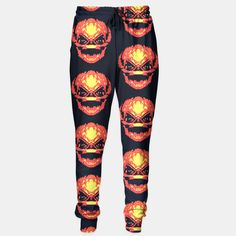 One of its kind, unique full print custom sweatpants created by you.Stylish, warm and comfy - no matter how often you wash it, it won't fade away or loose it's shape.  Trick R Treat Sam Live Heroes Leggings by Fimbis  #trickortreat #trickrtreat #halloween #pumpkinhead #pumpkin #samhain #sweatpants #trackpants #tracksuit