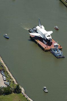 Space Shuttle arrives in Houston by U.S. Coast Guard