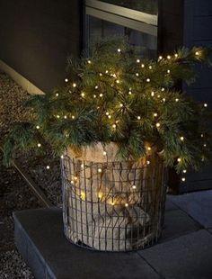 Mini-Lichterkette mit 80 Leuchten Sponsored Sponsored Mini fairy lights with 80 lights Country Christmas Decorations, Christmas Porch, Farmhouse Christmas Decor, Noel Christmas, Outdoor Christmas, Rustic Christmas, Xmas Decorations, Winter Christmas, Christmas Lights
