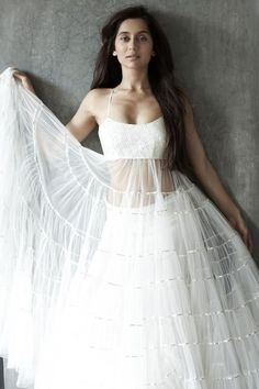 white anarkali full slip and petticoat, poorly cropped picture.
