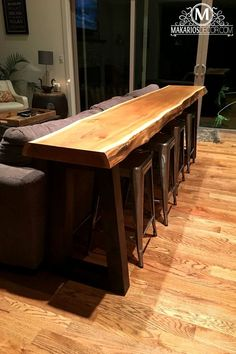 Behind Couch Table Bar.Our Family Room - Livin' On The Edge Family Room . Living Room Table With Stools Bar Table Behind Couch Bar . Home Design Ideas Live Edge Wood, Live Edge Table, Live Edge Bar, Home Bar Table, Bar Table Diy, Bar Table Design, Live Edge Tisch, Mesa Sofa, Sofa Tables
