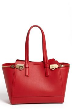 Salvatore Ferragamo 'Verve - Medium' Leather Trapeze  Satchel