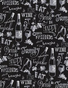 Wine Chalkboard Fabric By-The-Yard Novelty Cotton by TCSFabrics