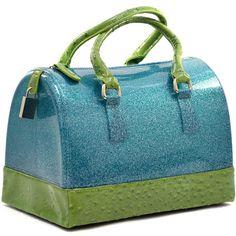 Blue Green Jelly Handbag Purse Glitter Ostrich Print Fashion Candy Satchel Lock