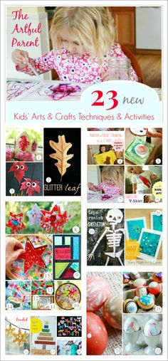 23 New Kids' Arts and Crafts Techniques Tried in 2013 (on The Artful Parent) -- Sticker resist, melted bead suncatchers, nature crafts, t-sh...