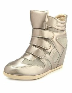 Velcro Strap Metallic Wedge Sneaker: moonish but i still love them!