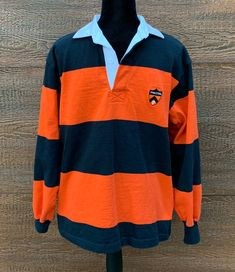 d20b3149e2de PRINCETON UNIVERSITY Vintage 80s Orange   Black Striped Rugby Shirt Men s  Medium