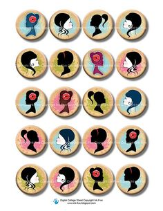 Women Silhouettes 1 inch bottle cap circles faces by InkFive