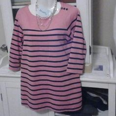 Pink n Navy blue striped shirt Nice condition and good quality L.L. Bean Tops Blouses