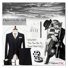 """Newchic Anniversary SALE ! /// Men's Fashion"" by anastasia-ana ❤ liked on Polyvore featuring Veja, men's fashion, menswear, blackandwhite, formal, suit and newchic"