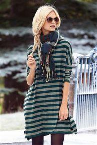 Stripe Boxy Dress(Green#Regular)