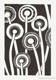 in the night  linocut print  4x6 / printmaking / block by nourart, /I love these dandelions/