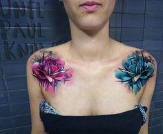 Este incrível par de tatuagens de rosas