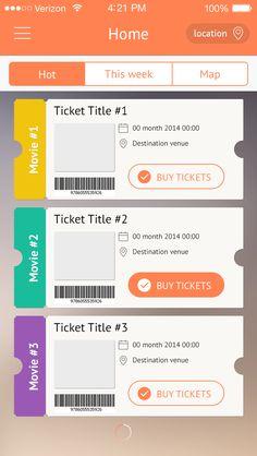 Ticketing app display. Flat. Char:异性列表,形状类似优惠券,电影票,饭票,邮票之类的。有想法了吗?