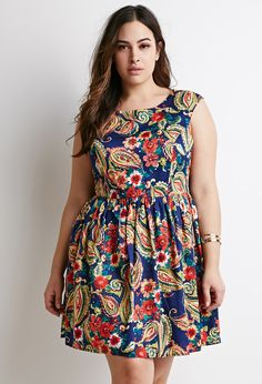 Paisley Print Fit & Flare Dress | Forever 21 PLUS - 2000078047