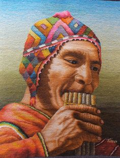 ArtTino - Handwoven Portrait of a Musician playing in the Andes