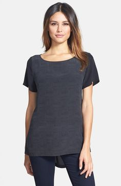 Also not in-budget, but love the tiny herringbone print on this silk tee.