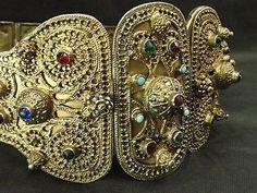 antique original caucasian silver gold plate belt