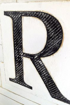 Carved Wooden Letter R Sign 24 tall by 18 wide  by AmericanaSigns